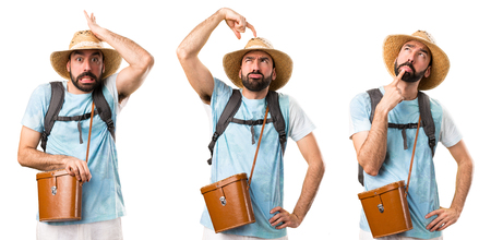 Set of Funny tourist having doubts Stock Photo