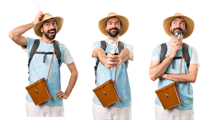Set of Funny tourist holding a bulb Stock Photo