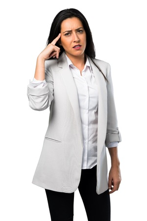 Pretty woman making crazy gesture on white background