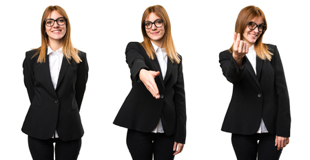 Set of Young business woman making a deal