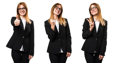 Ensemble de femme d'affaires jeune chanceux Banque d'images