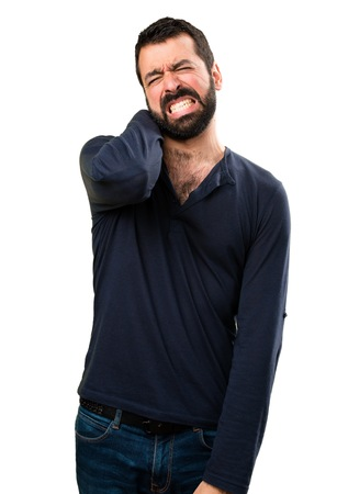 Handsome man with beard with neck pain
