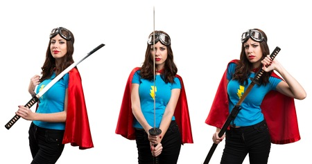 Set of Pretty superhero girl with katana