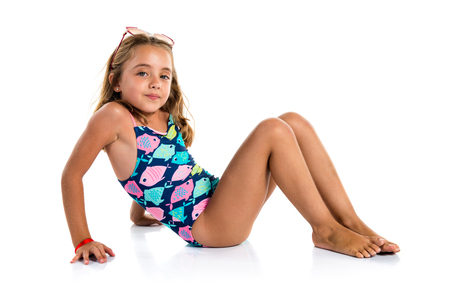 Little cute girl in swimwear Stock Photo