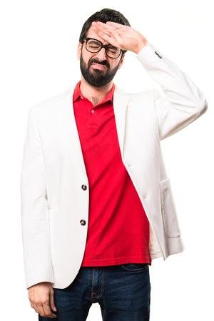 Brunette man with glasses with fever on white background