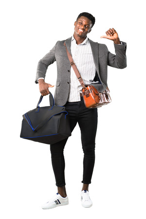 Full body of African american business man traveling with suitcases proud and self-satisfied in love yourself concept on white background