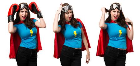 Set of Frustrated pretty superhero girl