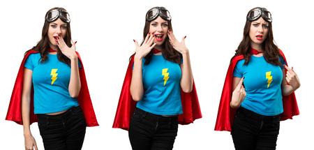 Set of Pretty superhero girl making surprise gesture