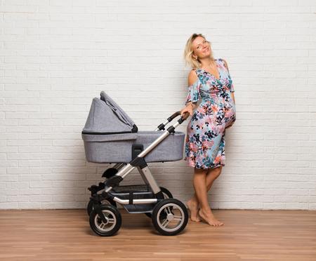 Blonde pregnant woman