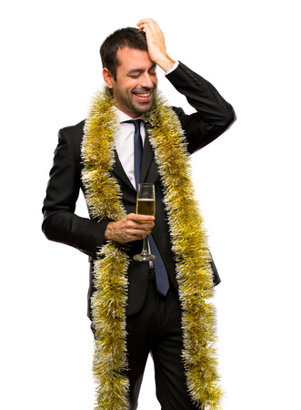 Man with champagne celebrating new year 2019 has just realized something and has intending the solution on isolated white background
