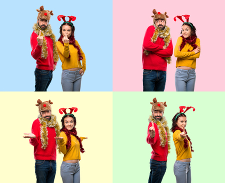 Set of Couple dressed up for the christmas holidays making horn gesture, counting one and undecided on colorful background