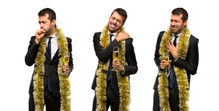 set of Man with champagne celebrating new year 2019 suffering from pain in shoulder and in heart
