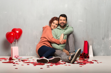 Couple in valentine day hugging Stock Photo