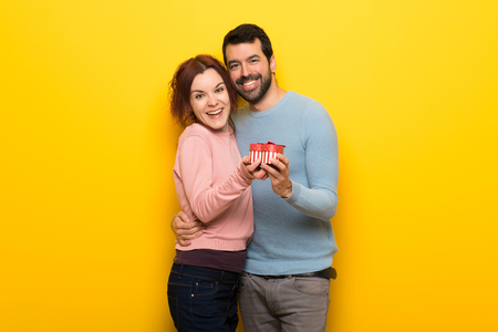Couple in valentine day hugging and with a rose Stock Photo