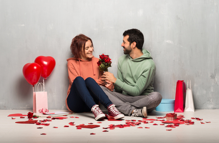 Couple in valentine day with flowers