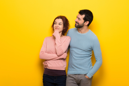 Couple in valentine day looking to the side