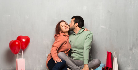 Couple in valentine day kissing Stock Photo