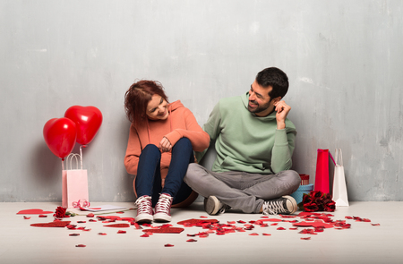 Couple in valentine day smiling a lot