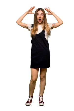 Full body Young pretty woman with surprise and shocked facial expression on isolated background