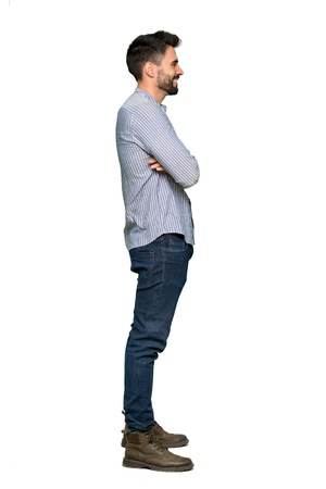 Full-length shot of Elegant man with shirt in lateral position on isolated white background Stock Photo