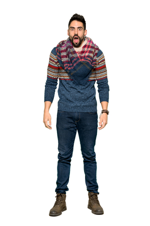 Full-length shot of Hippie man with surprise and shocked facial expression on isolated white background Stok Fotoğraf