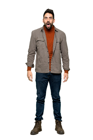 Full-length shot of Handsome man with beard with surprise and shocked facial expression on isolated white background Stok Fotoğraf
