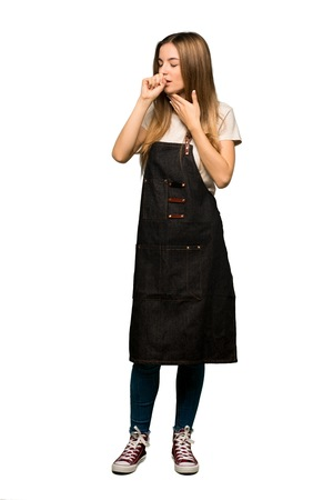 Full body Young woman with apron is suffering with cough and feeling bad on isolated background