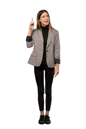A full-length shot of a Business woman intending to realizes the solution while lifting a finger up over isolated white background