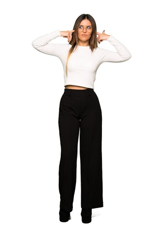 Full body of Pretty woman with glasses covering both ears with hands
