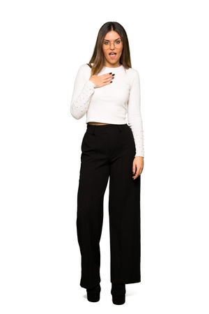 Full body of Pretty woman with glasses surprised and shocked while looking right