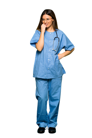 Full body of Young nurse having doubts