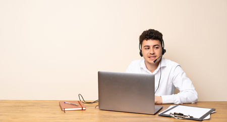 Telemarketer man with confuse face expression