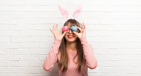 Young woman wearing bunny ears for Easter holidays Stock Photo