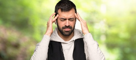 Sport man unhappy and frustrated with something in a park Stock Photo