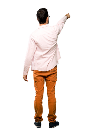Full-length shot of Handsome man with beard over isolated white background