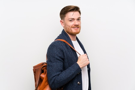 Redhead man with backpack