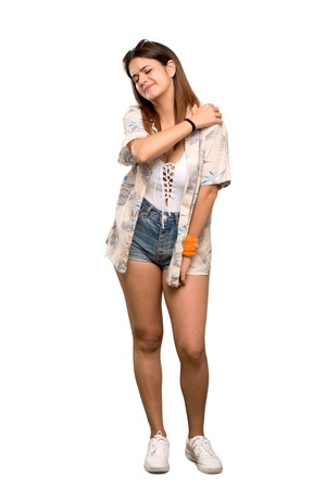 Full-length shot of Young woman in bikini in summer holidays suffering from pain in shoulder for having made an effort over isolated white background Stockfoto - 123069733