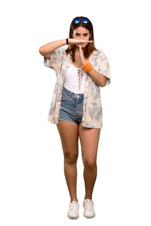 Full-length shot of Young woman in bikini in summer holidays making time out gesture over isolated white background