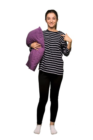 Full body Pretty woman in pajamas with surprise facial expression on isolated background
