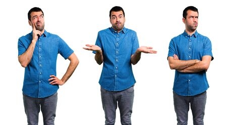 Set of Handsome man with blue shirt having doubts and with confuse face expression Stock Photo - 124924873