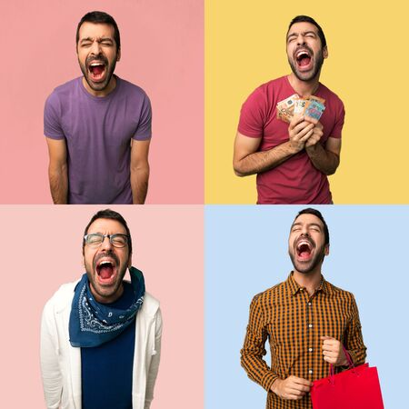 Set of men shouting to the front with mouth wide open Imagens - 124924977
