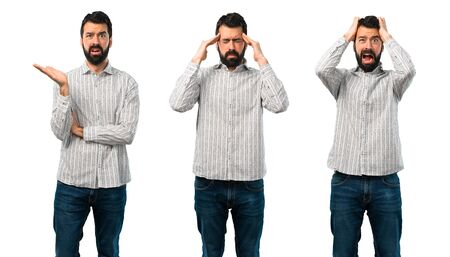 Collage of Handsome man with beard unhappy and frustrated with something. Negative facial expression Imagens