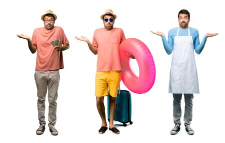 Group of man with bills, chef and Man with hat and sunglasses on his summer vacation having doubts and with confuse face expression while raising hands and shoulders Uncertain concept Stock Photo - 124925065