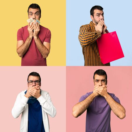 Set of men covering mouth with hands for saying something inappropriate