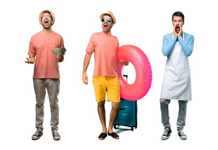 Group of man with bills, chef and Man with hat and sunglasses on his summer vacation shouting to the front with mouth wide open Imagens - 124925083