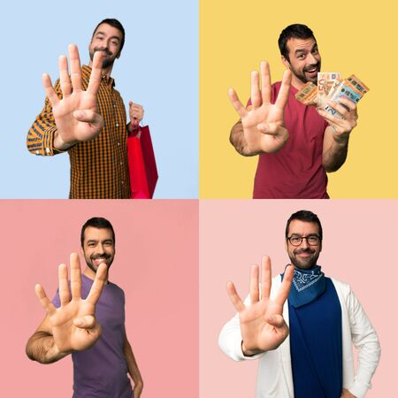 Set of men happy and counting four with fingers