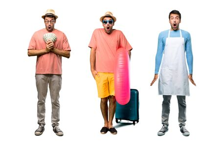 Group of man with bills, chef and Man with hat and sunglasses on his summer vacation with surprise and shocked facial expression. Gaping because have just surprised with a gift Imagens