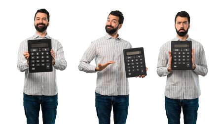Collage of Handsome man with beard holding a calculator
