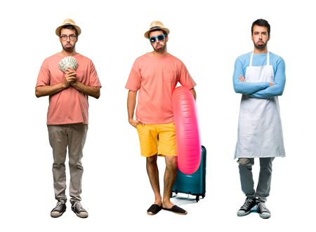 Group of man with bills, chef and Man with hat and sunglasses on his summer vacation with sad and depressed expression. Serious gesture