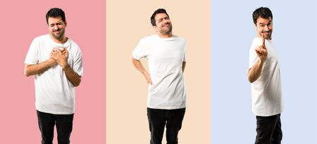 Set of Young man suffering from backache and heart pain, and other counting one on colorful background Stock fotó